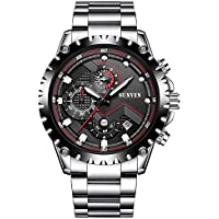 Mans Watch Waterproof Sports Quartz-Water resistant 30M with Stainless Steel Brecelet Chronograph and Calendar Military Outdoor style Fashion Watches for Men SUNVEN Band