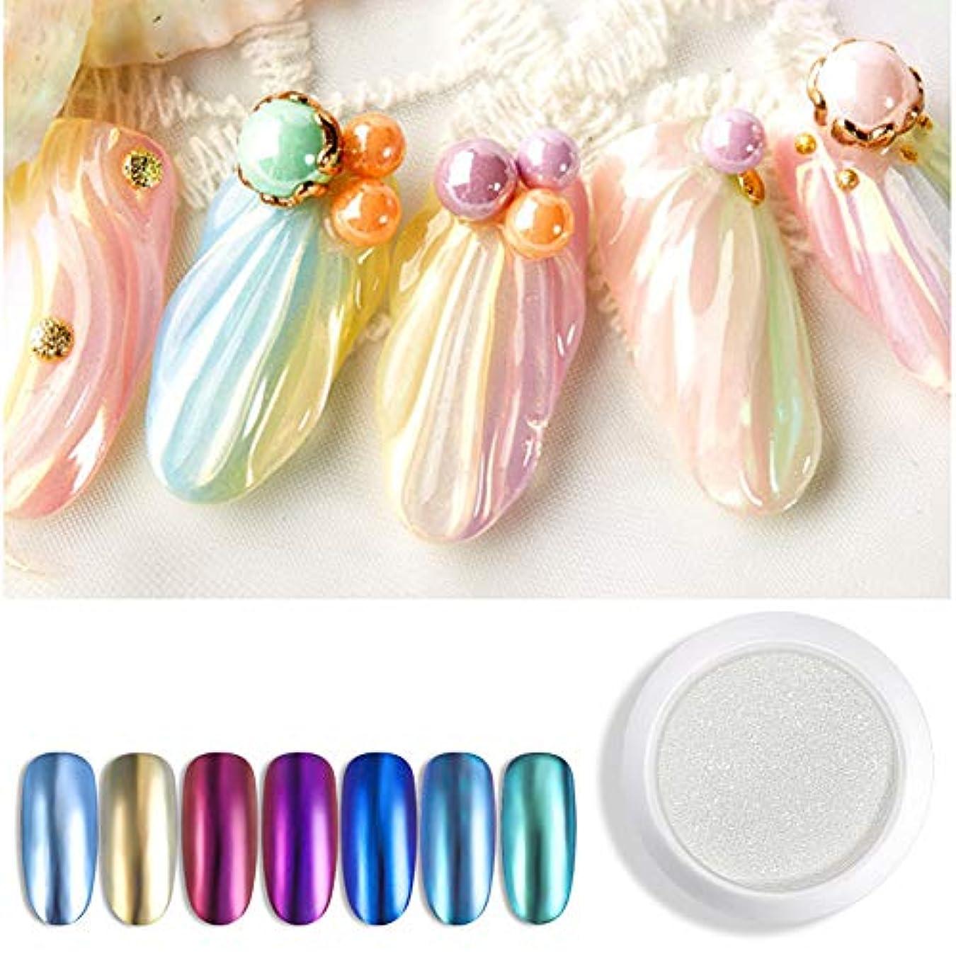 最高ハリウッドブレーキINNAIL 爪粉末からオーロラ真珠粉ミラー粉末爪金属選択ゲルネイルカラーネイルアートを含有七色の1Gケース(7) 7
