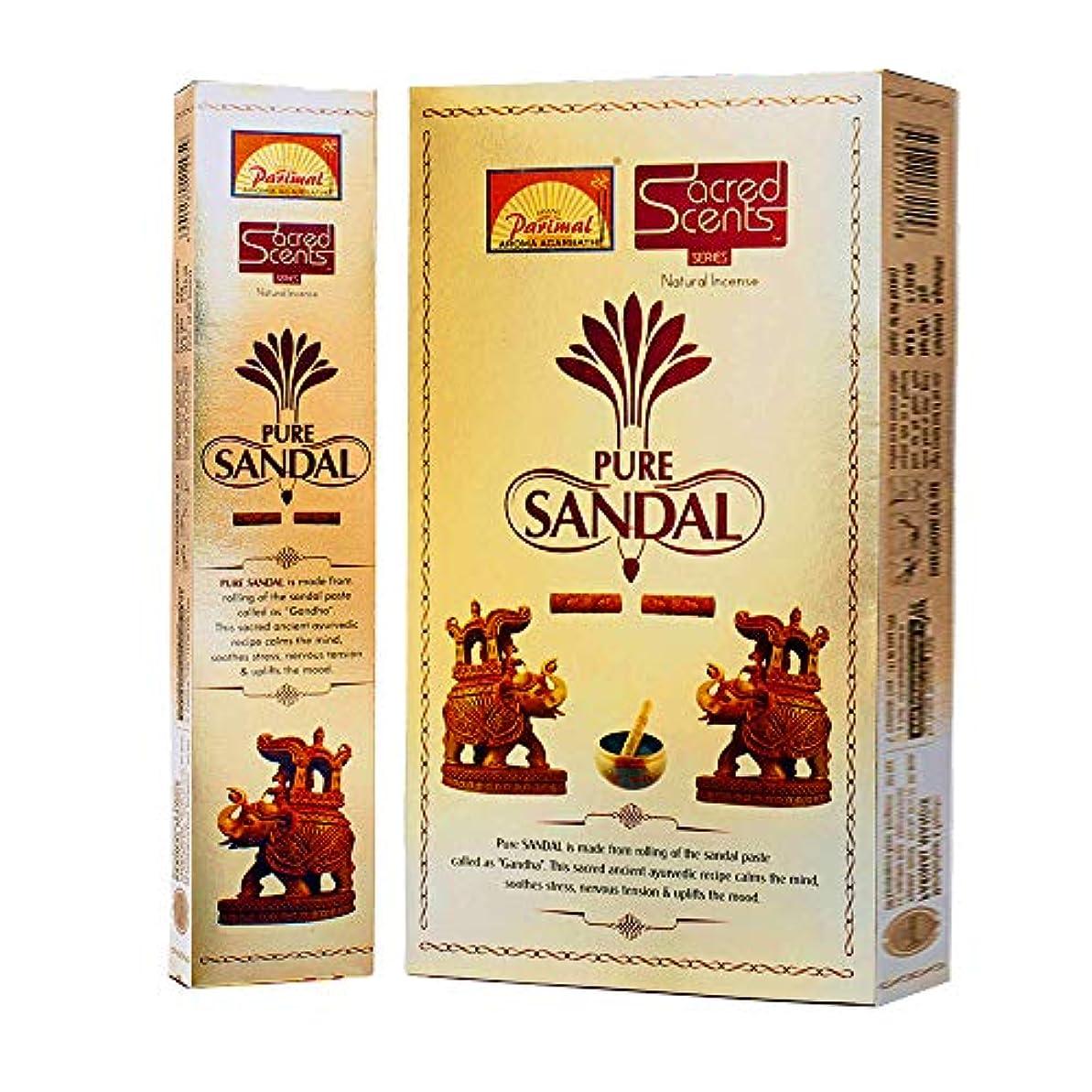 交通居心地の良いふけるParimal Sacred Scents PureサンダルIncense Sticks 30グラムパック、6カウントin aボックス