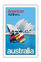 オーストラリア - オペラシドニー - アメリカン航空 - ビンテージな航空会社のポスター c.1969 - プレミアム290gsmジークレーアートプリント - 61cm x 91cm