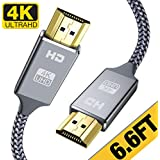 4K HDMI Cable 2m, High Speed 18Gbps HDMI 2.0 Cable,4K, 3D, 2160P, 1080P, Ethernet - 28AWG Braided HDMI Cord - Audio Return(ARC) Compatible UHD TV, Blu-ray, Xbox, PS4, PS3, PC