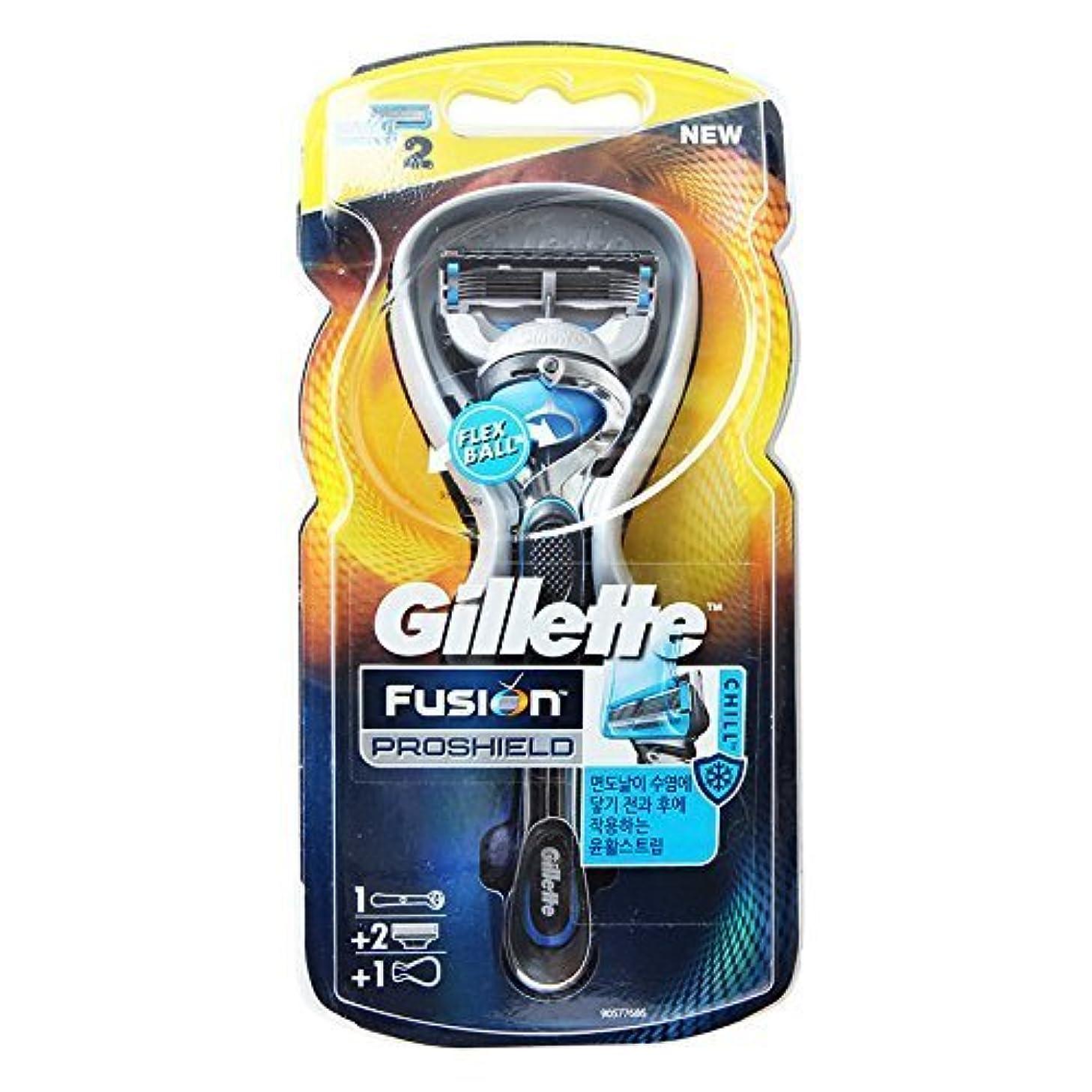 ごみ貫通錫Gillette Fusion Proshield Chill Blue フレックスボールレザーブレードリフィル付きメンズカミソリ2カウント [並行輸入品]