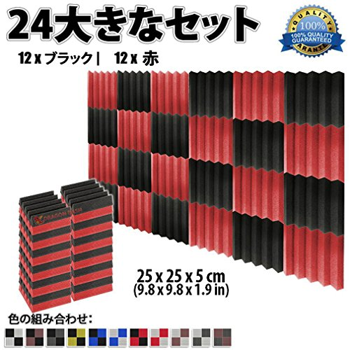 スーパーダッシュ 新しい 24 ピース 250 x 250 x 50 mm 吸音材 ウェッジ 防音 吸音材質ポリウレタン SD1134 (黒と 赤)
