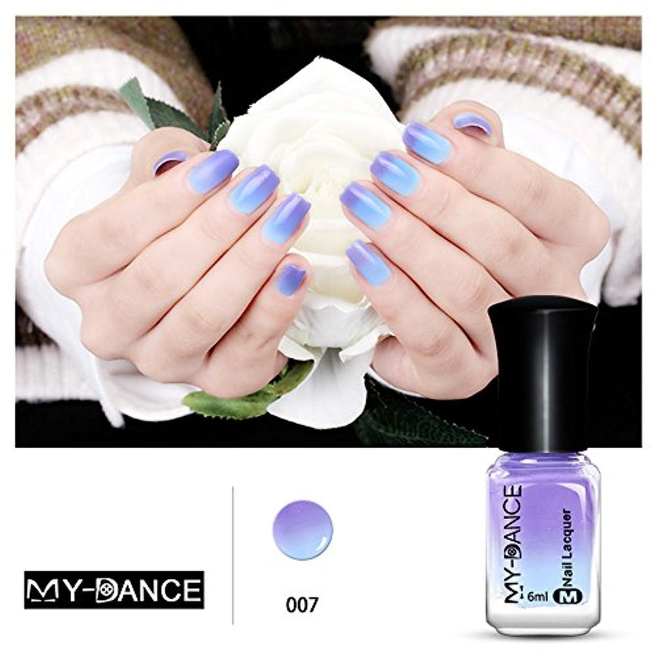 1ボトル 紫色変色グリッター マニキュアピールオフ温度によって色が変わるポリッシュ 変色 ネイルアート 6ml