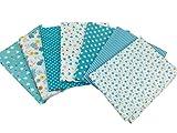 綿 プリント生地 四角形シリーズ 7枚セット 50×50㎝ DIY縫う手作りの布地 (ブルー)