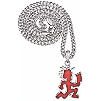 GWOOD Juggalo with Cleaver Silver Color with Red Enamel Pendant 24 Inch Necklace Cuban Link Chain