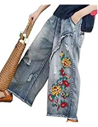 Easylifeガウチョパンツ ワイドパンツ デニム レディース ボトムス ゆった り ズボン 手芸刺繍 カジュアル ポケット付き 9分丈 春夏 豊富なサイズあるPW2ブル