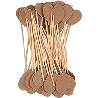 Prettyia クラフト紙 小物 ハート カップケーキトッパー 旗 ウェディング パーティー 装飾 デコレーション
