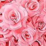 【glaystore】 バラ 造花 ローズ 薔薇 アレンジ 8センチ 50個セット 結婚式 2次会 パーティー ブライダルイベントに (クリアピンク)
