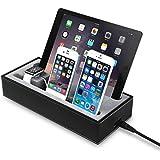 GVDV 4 in 1充電スタンド 収納ケース 保護カバー PUレザー材質 Apple watch/タブレット/iPhone/iPad/iWatch/スマートフォンに多機種対応 ブラック+グレー
