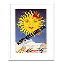 Sport Advert Winter Olympic Games 1948 St Moritz Sun Snow Framed Wall Art Print
