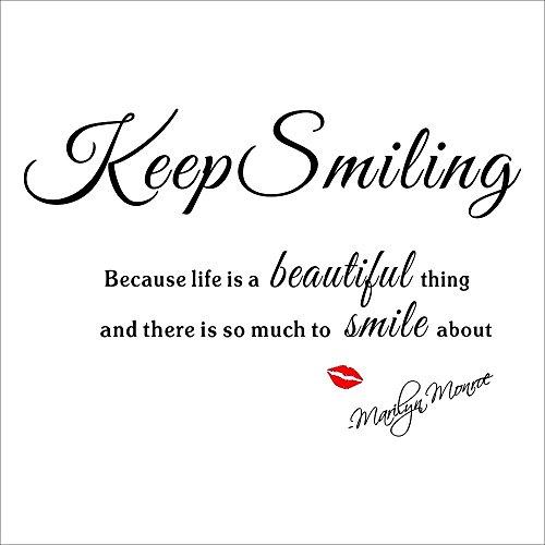 RoomClip商品情報 - 壁デコステッカー 簡単!壁に貼ってはがせます マリリン・モンロー 名言 Keep Smiling 「人生というものは美しいし、笑顔になれるものが沢山あるので、笑っていなさい。」