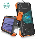 BLAVOR Solar Charger Power Bank 18W, QC 3.0 Portable Wireless Charger 10W/7.5W/5W with 4 Outputs & Dual Inputs, 20000mAh Exte
