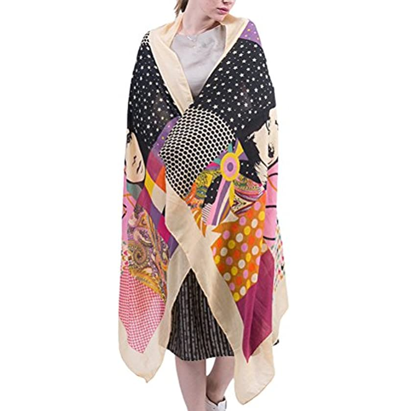 廃棄哲学サイレントZhhlinyuan 美しいスカーフ Twill Linen Ladies Printed Map Beach Scarf Elegant Shawls and Wraps for Evening Dresses