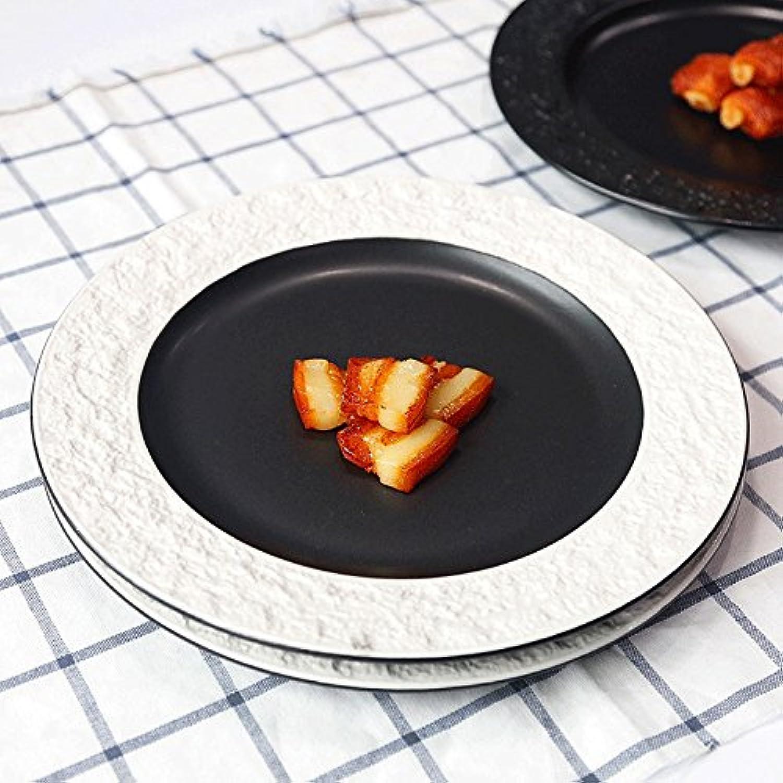 housewaresstore- ヨーロッパのエンボスウエスタンディッシュストーングレインステーキプレートセラミックディッシュウェアクリエイティブデザートプレートパーソナリティ朝食ディッシュ10インチディッシュ plate (色 : Black+white)