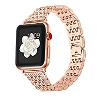 GOSETH Compatible Apple Watch Band Alloy Crystal Rhinestone Diamond Watch Band Luxury Stainless Steel Bracelet Strap Apple Watch Series 3 Band Compatible Apple Watch All Models (Rose Gold-42mm) [並行輸入品]