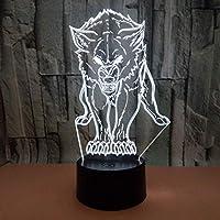 ギフトusb 7色変更凶悪オオカミモデルledナイトライト3dテーブルデスクタッチランプ子供ギフト、7色リモコン