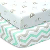 CUDDLY CUBS Set of 2 Jersey Cotton Fitted Crib Sheets in Gray and Mint with Chevron & Elephants - TOP QUALITY Nursery Bedding for Boy or Girl, Ideal Baby Shower Gift by Cuddly Cubs