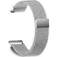 NotoCity マグネットクラスプ バンド 20mm 腕時計 バンド ステンレス製ベルト対応 Samsung Gear S2 Classic Watch,Galaxy Watch 42mm,Pebble time round watch,Samsung gear sport watch,Moto 360 2 42mm Men,TICHWATCH 2-銀色