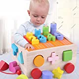 ジグソ—パズル 木製玩具 赤ちゃん ぱずるボックス モンテッソーリ キッズ 積み木 ブロック マッチング 幾何認知 図形認知 幼児用 誕生日 楽しく学ぶ 脳活性化