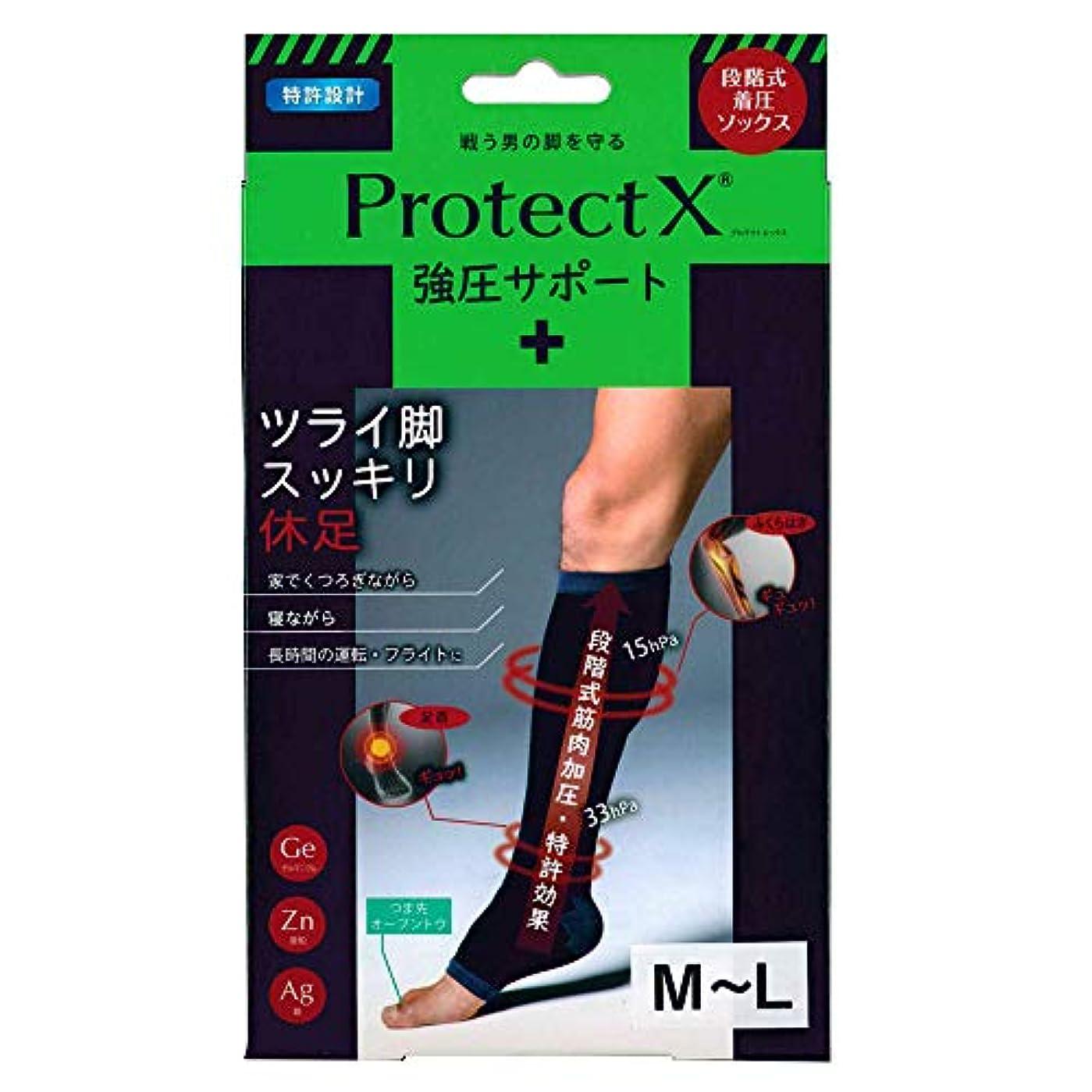 鮫コンバーチブル散らすProtect X(プロテクトエックス) 強圧サポート オープントゥ着圧ソックス 膝下 (膝下M-L)