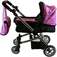 Babyboo Luxury Leather Look Doll Pram with Swiveling Wheels & Adjustable Handle and Free Carriage Bag - 9651B Purple [並行輸入品]