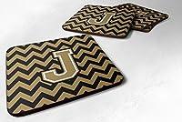 4文字J ChevronブラックとゴールドFoamコースターのセットSet of 4
