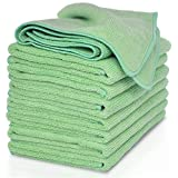 VibraWipe Microfiber Cleaning Cloths – All Green Pack, 8 Pieces. Color Options Available. 14.2 in x 14.2 in. Highly Absorbent, Lint Free and Streak Free, Wash Cloth for Kitchen, Car, Window