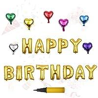 HAPPY BIRTHDAY バルーン &ハート型七色セット アルミバルーン ハンドポンプ付き バースデーパーティー用小物