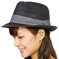 麦わら帽子 折りたたみ メンズ レディース MIXペーパー ポケッタブル ハット LL18.ブラック1