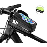 ROCK BROS Bike Phone Bag Waterproof Bicycle Frame Bag Pannier Top Tube Touch Screen Cycling Phone Case Holder for iPhone X XS 8 7 Plus Cellphone Below 6.5 Inches