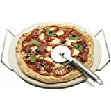 Davis & Waddell D2088 Napoli Round Pizza Stone with Rack & S/S Cutter, Natural, Chrome