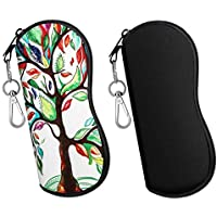MoKo Sunglasses Soft Case 2 Pack, Ultra Light Portable Neoprene Zipper Glasses Soft Case, Eyeglass Safety Pouch Zipper Box Case with Belt Clip
