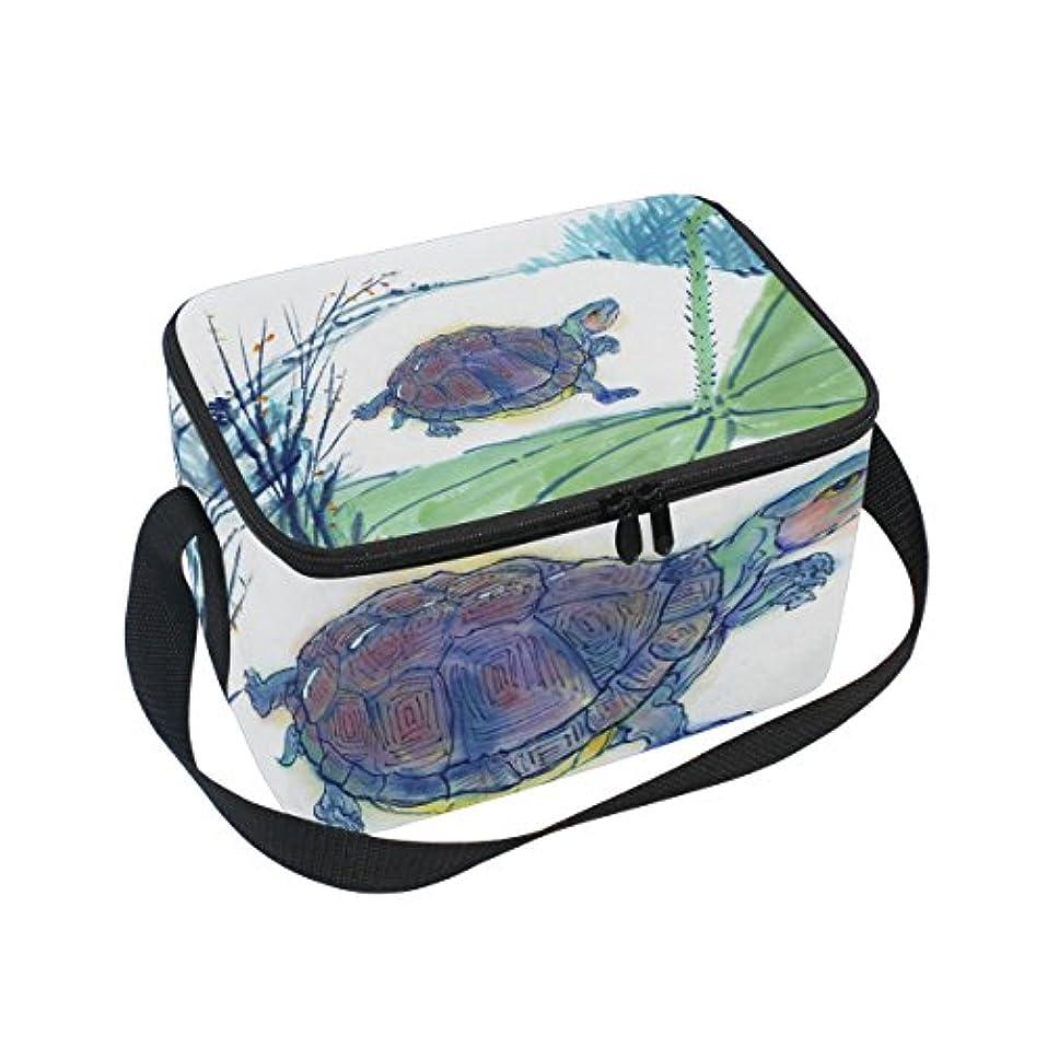 フォーク支給テレビを見るクーラーバッグ クーラーボックス ソフトクーラ 冷蔵ボックス キャンプ用品  亀と蓮 保冷保温 大容量 肩掛け お花見 アウトドア