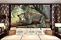 Bzbhart 3D壁紙3Dホワイトタイガー屋外風景リビングルームの寝室の背景の壁の装飾の壁紙-400cmx280cm