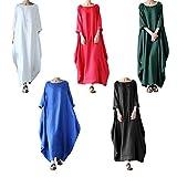 MyMei ワンピース ドレス スカート 体型カバー レディースウェア カジュアル 春夏ウェア 亜麻 無地 大きいサイズ ゆったり