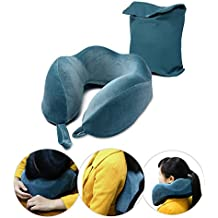 Memory Foam Travel Neck Pillow - Premium Contoured Design Super Comfortable Velvety Velour Plush Exterior Full Support with Carry Bag, Blue
