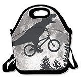 IACC お弁当 Dinosaur Bike And MOON Lunch Bag Tote Handbag Lunchbox For School Work Outdoor