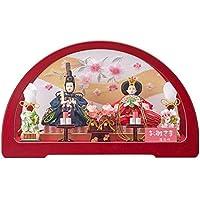 雛人形 親王変形アクリルケース 【円華】 豆 2人飾り 赤 [間口50cm] 【fn-6】 ひな祭り