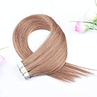 FidgetGear Remyの人間の毛髪延長7A 40cmの継ぎ目が無いPUの皮のよこ糸の方法16インチテープ #12ライトブラウン