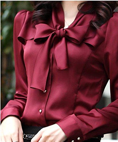 (ヴォンヴァーグ) ventvague 無地 シンプル つるつる 輝き 輝く 前開き 心地よい 透けない 通勤服 OL スーツ 服装 ファッション 赤 赤色 あか ローズ ボルドー バーミリオン スカーレット red ブラウス レディース (L, レッド)