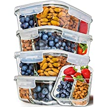 [5-Pack] Glass Meal Prep Containers 3 Compartment - Bento Box Containers Glass Food Storage Containers with Lids - Food Prep Containers Glass Storage Containers with lids Lunch Containers