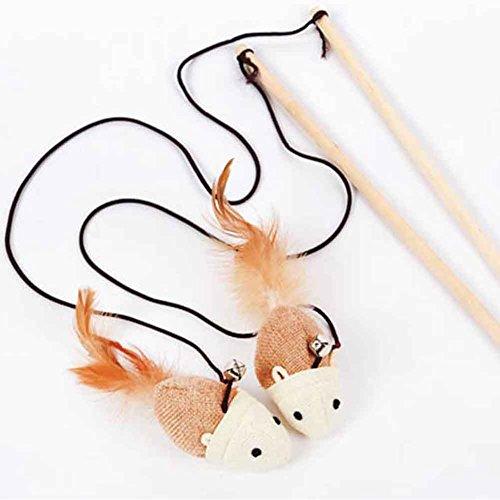 猫おもちゃ,ペット用品鈴 ねずみ羽 木製品釣り竿ストレッチロープ