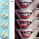 Vampire Teeth Fangs  Teeth - 4 Pair - Cosplay Props Halloween Costume Props Party Favors (13mm 15mm 17mm 19mm) - with Adhesiv