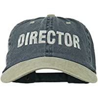 Movie Director Embroidered Washed Two Tone Cap - Navy Khaki OSFM