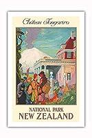 シャトー Tongariro - 国立公園、ニュージーランド - ビンテージな鉄道旅行のポスター によって作成された エドガー・マクラウド・ロヴェル・スミス c.1930s - プレミアム290gsmジークレーアートプリント - 61cm x 91cm