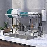 シンク上 食器水切りラック長さ調整可能(60cm-96cm) 皿乾燥水切り棚 キッチン ラック 収納棚 日本語取扱説明書付