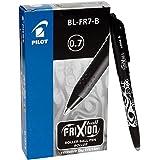 Pilot 224101201 Erasable FriXion BL-FR7-B 0.7 mm Fine Tip Roller Ball Erasable Gel Ink Pen, Black, (13212)
