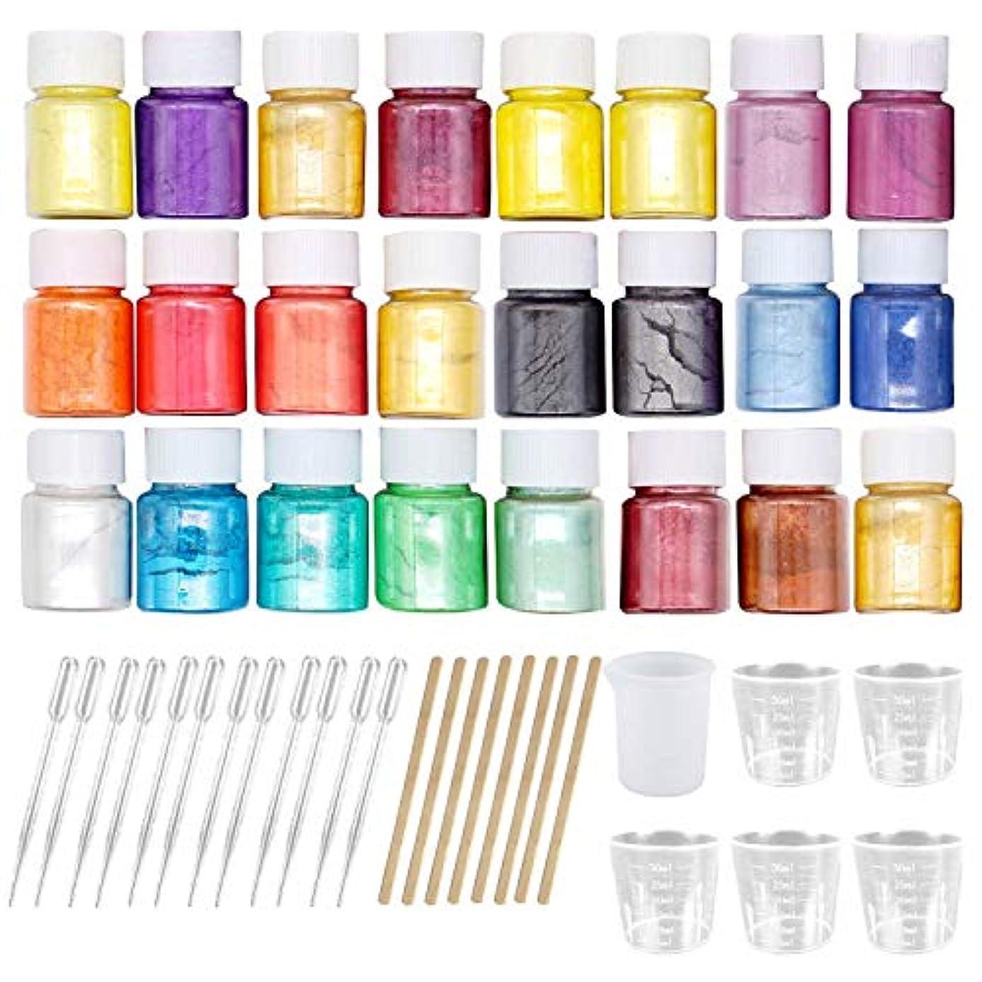 ビーチ談話初期マイカパウダー Migavan マイカパールパウダー 24色着色剤顔料マイカパールパウダー+ 8ピース木製ロッド+ 6ピース計量カップ+ 12ピーススポイト用diyクラフトスライム用品ランダムな色