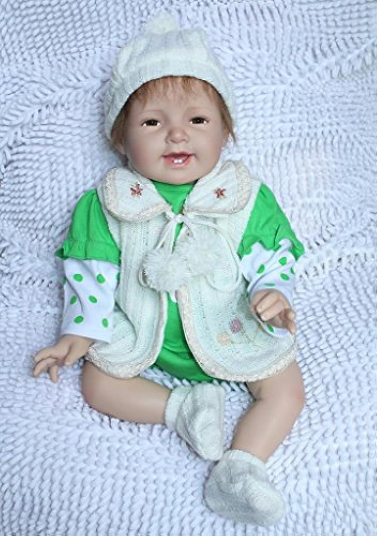 Nicery 人形 Babyリボーンベビードールソフトシリコン22インチ55センチメートル磁気口ラブリーリアルかわいい玩具スマイルプリンセスガール玩具グリーン Reborn Dolls JP